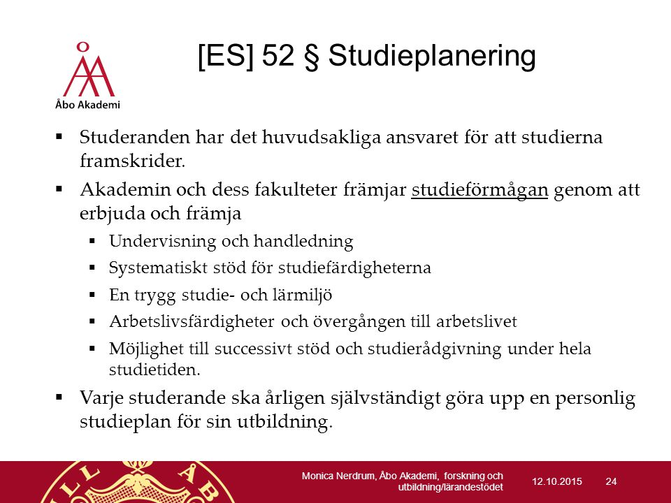 [ES] 52 § Studieplanering